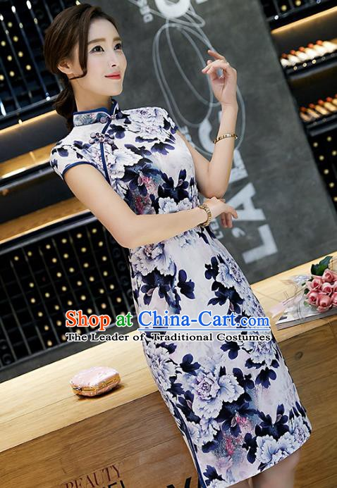 Chinese Traditional Silk Short Mandarin Qipao Dress National Costume Printing Peony Cheongsam for Women