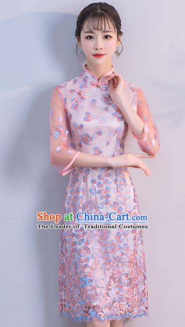 Chinese Traditional Pink Mandarin Qipao Dress National Costume Short Cheongsam for Women