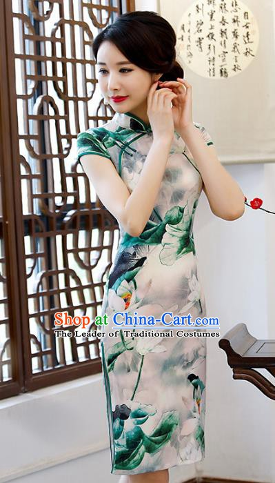 Chinese Traditional Mandarin Qipao Dress National Costume Printing Lotus Green Short Cheongsam for Women