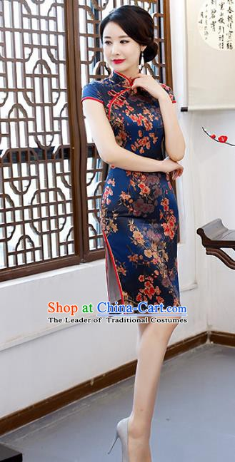 Chinese Traditional Mandarin Qipao Dress National Costume Printing Navy Cheongsam for Women
