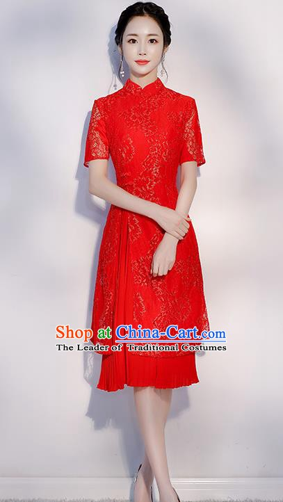Chinese Traditional Embroidered Red Mandarin Qipao Dress National Costume Short Cheongsam for Women