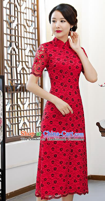 Chinese Traditional Mandarin Qipao Dress National Costume Red Lace Cheongsam for Women