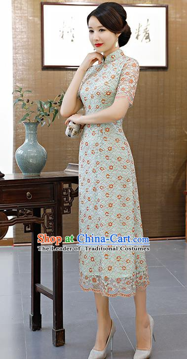 Chinese Traditional Mandarin Qipao Dress National Costume Green Lace Cheongsam for Women