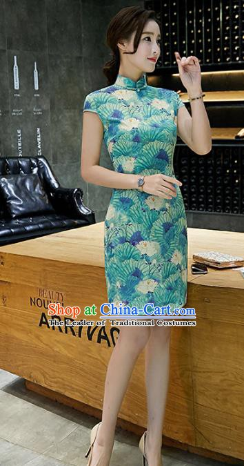 Chinese Traditional Mandarin Qipao Dress National Costume Printing Green Cheongsam for Women