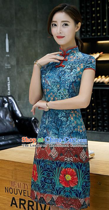 Chinese Traditional Printing Mandarin Qipao Dress National Costume Tang Suit Blue Cheongsam for Women
