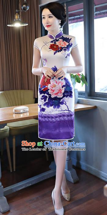 Chinese Traditional Printing Peony Silk Short Mandarin Qipao Dress National Costume Tang Suit Cheongsam for Women