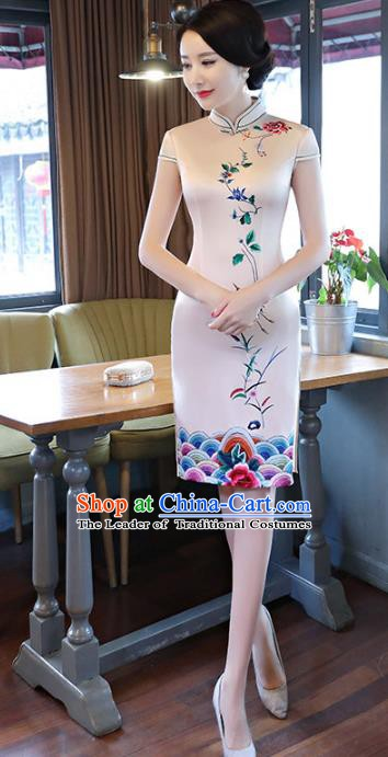 Chinese Traditional Printing Beige Silk Mandarin Qipao Dress National Costume Tang Suit Short Cheongsam for Women