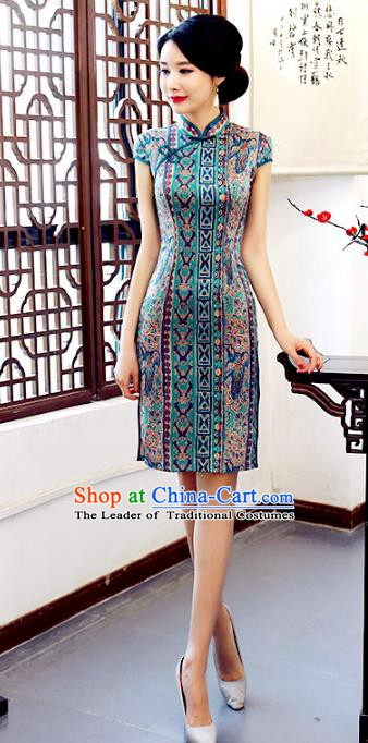 Chinese Traditional Printing Mandarin Qipao Dress National Costume Green Silk Short Cheongsam for Women
