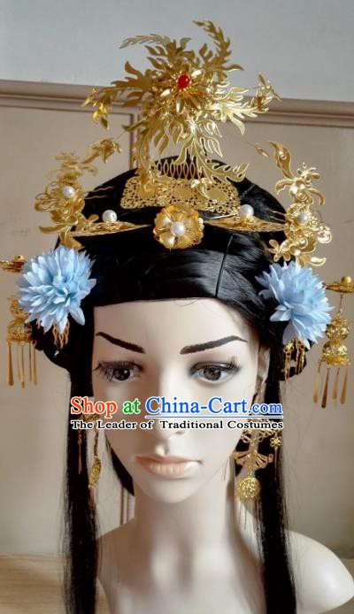 Traditional Chinese Ancient Palace Lady Hair Accessories Golden Phoenix Coronet Hairpins Complete Set for Women