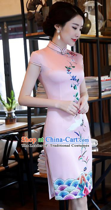 Chinese Traditional Printing Pink Silk Mandarin Qipao Dress National Costume Tang Suit Short Cheongsam for Women