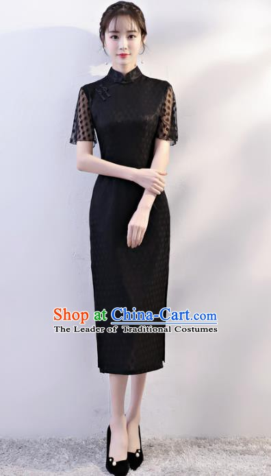Chinese Traditional Tang Suit Qipao Dress National Costume Black Mandarin Cheongsam for Women