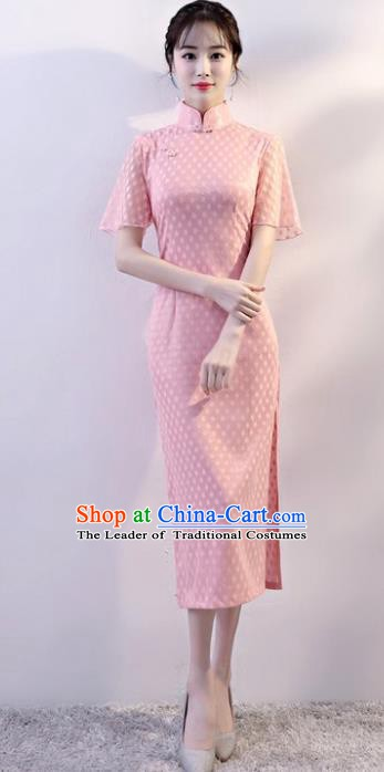 Chinese Traditional Tang Suit Qipao Dress National Costume Pink Mandarin Cheongsam for Women