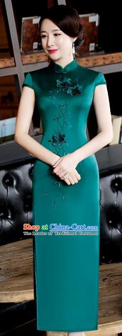 Chinese Traditional Tang Suit Embroidered Qipao Dress National Costume Green Silk Mandarin Cheongsam for Women