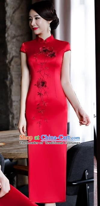 Chinese Traditional Tang Suit Embroidered Qipao Dress National Costume Red Silk Mandarin Cheongsam for Women
