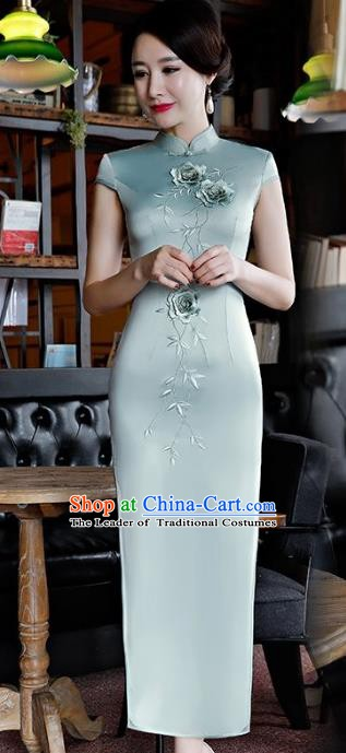 Chinese Traditional Tang Suit Embroidered Qipao Dress National Costume Light Blue Silk Mandarin Cheongsam for Women