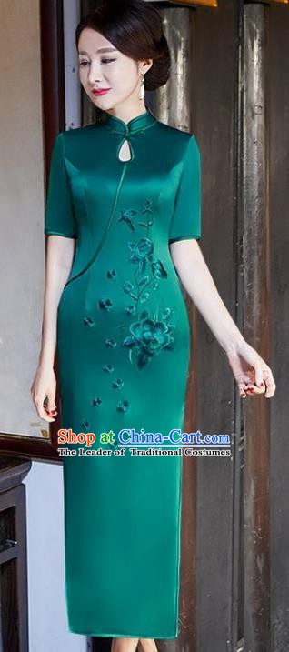 Chinese Traditional Tang Suit Embroidered Peony Qipao Dress National Costume Green Silk Mandarin Cheongsam for Women