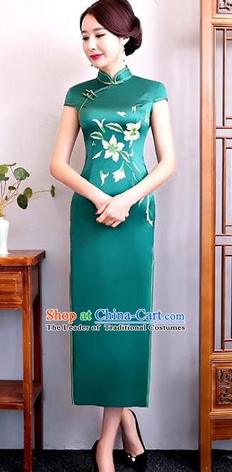 Chinese Traditional Tang Suit Green Silk Qipao Dress National Costume Mandarin Cheongsam for Women