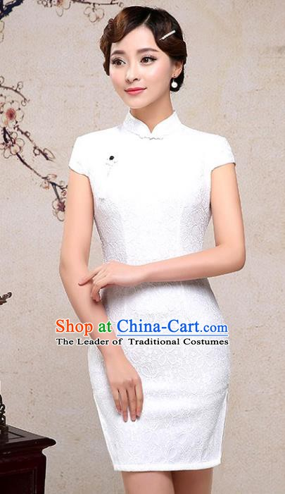 Chinese Traditional Tang Suit White Short Qipao Dress National Costume Mandarin Cheongsam for Women
