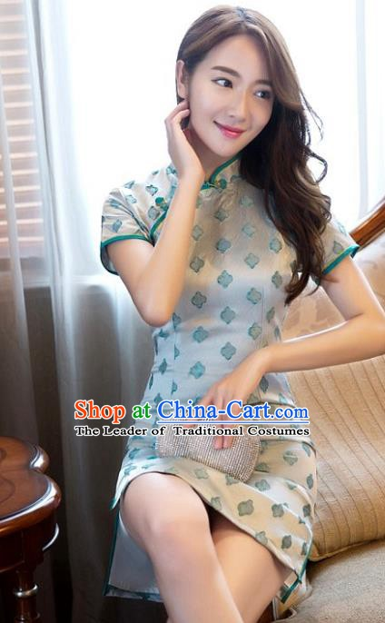 Chinese Traditional Tang Suit Green Silk Short Qipao Dress National Costume Mandarin Cheongsam for Women