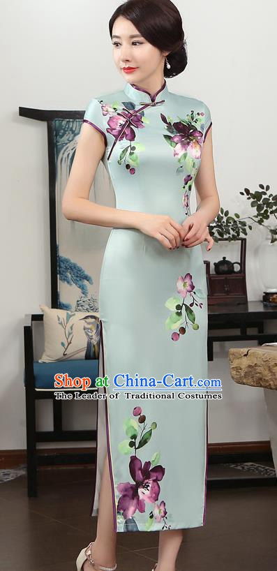 Chinese Traditional Tang Suit Printing Qipao Dress National Costume Green Silk Mandarin Cheongsam for Women