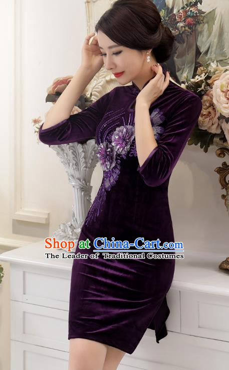 Chinese Traditional Tang Suit Purple Velvet Qipao Dress National Costume Retro Mandarin Cheongsam for Women