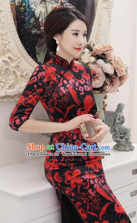 Chinese Traditional Tang Suit Printing Velvet Qipao Dress National Costume Retro Long Mandarin Cheongsam for Women