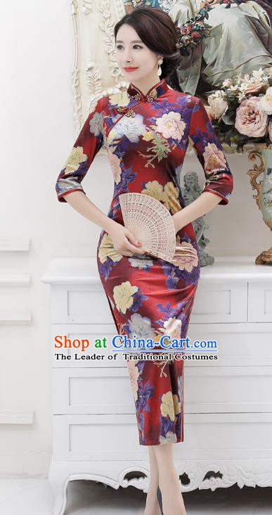 Chinese Traditional Tang Suit Printing Qipao Dress National Costume Retro Long Mandarin Cheongsam for Women