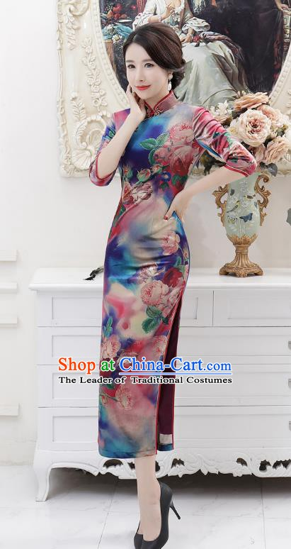 Chinese Traditional Tang Suit Qipao Dress National Costume Retro Printing Mandarin Cheongsam for Women