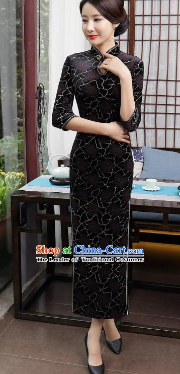 Chinese Traditional Tang Suit Qipao Dress National Costume Retro Black Velvet Mandarin Cheongsam for Women