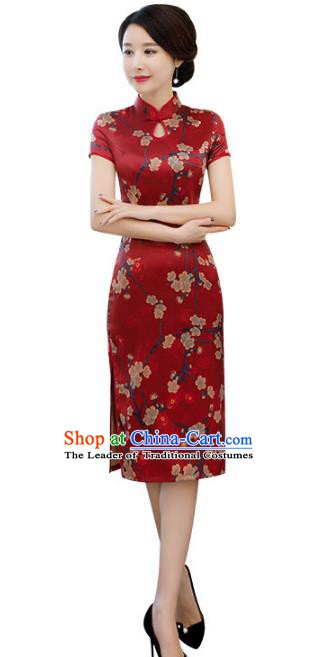 Chinese Traditional Printing Plum Blossom Mandarin Qipao Dress National Costume Tang Suit Cheongsam for Women