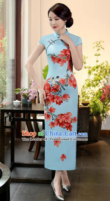 Chinese Traditional Printing Maple Leaf Mandarin Qipao Dress National Costume Tang Suit Blue Cheongsam for Women