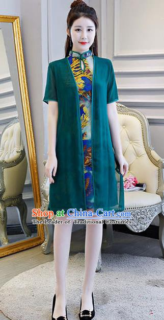 Chinese Traditional Short Mandarin Qipao Dress National Costume Tang Suit Green Cheongsam for Women