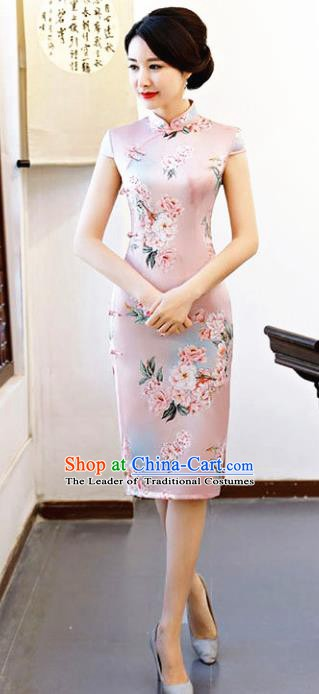 Chinese Traditional Printing Peony Pink Qipao Dress National Costume Tang Suit Mandarin Cheongsam for Women
