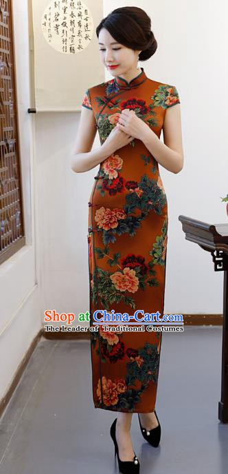 Chinese Traditional Printing Peony Qipao Dress National Costume Tang Suit Mandarin Cheongsam for Women