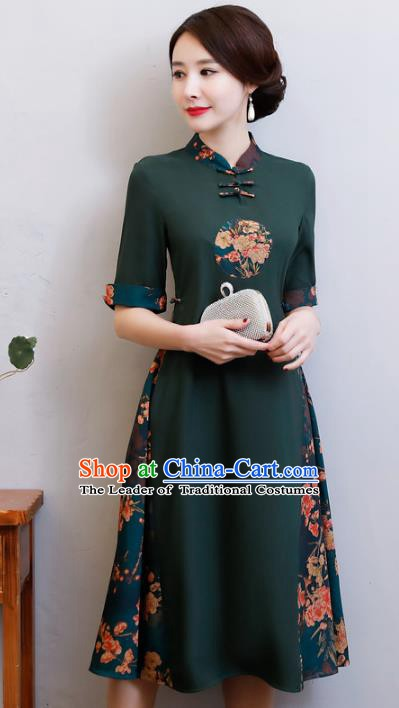 Chinese Traditional Green Qipao Dress National Costume Tang Suit Mandarin Cheongsam for Women