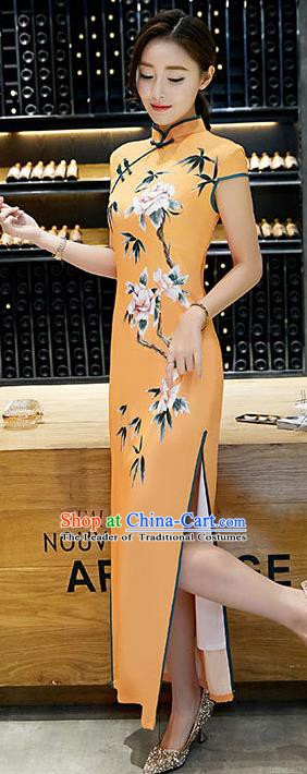 Chinese Traditional Tang Suit Qipao Dress National Costume Printing Yellow Mandarin Cheongsam for Women