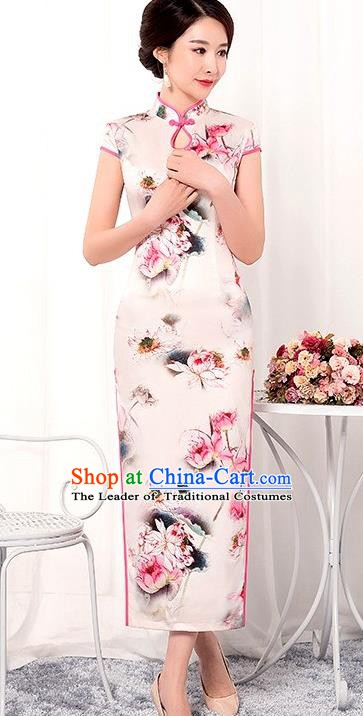 Chinese Traditional Tang Suit Qipao Dress National Costume Printing Lotus Pink Mandarin Cheongsam for Women