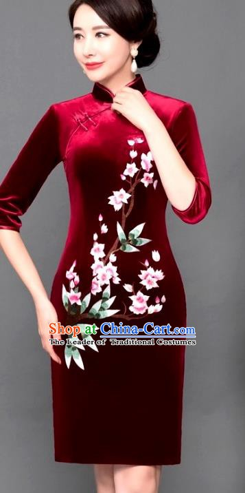 Chinese Traditional Tang Suit Qipao Dress National Costume Red Pleuche Mandarin Cheongsam for Women