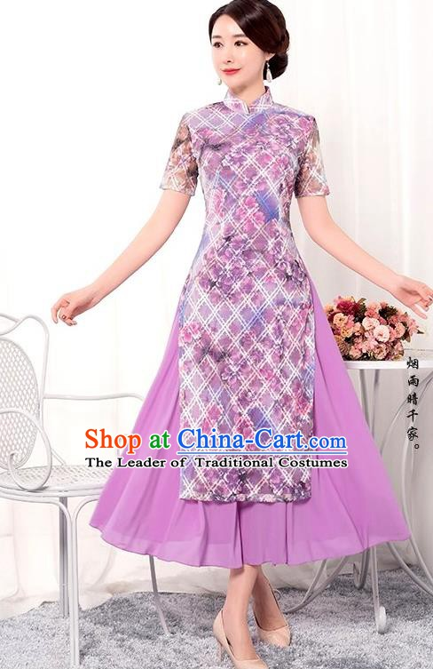 Chinese Traditional Tang Suit Qipao Dress National Costume Printing Purple Mandarin Cheongsam for Women