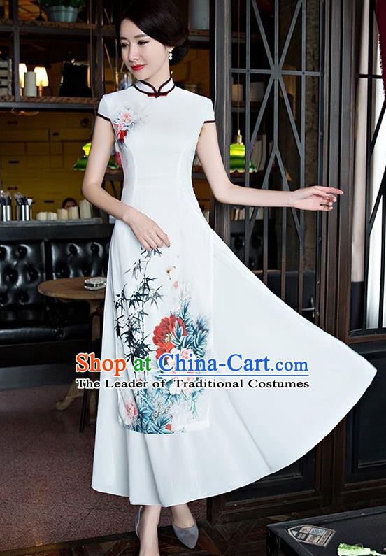 Chinese Traditional Tang Suit Qipao Dress National Costume Printing Peony White Mandarin Cheongsam for Women