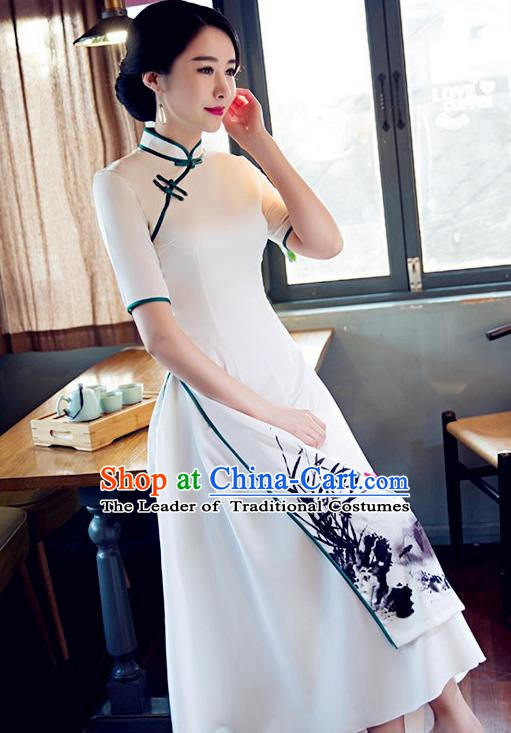 Chinese Traditional Tang Suit Qipao Dress National Costume Printing Orchid Mandarin Cheongsam for Women