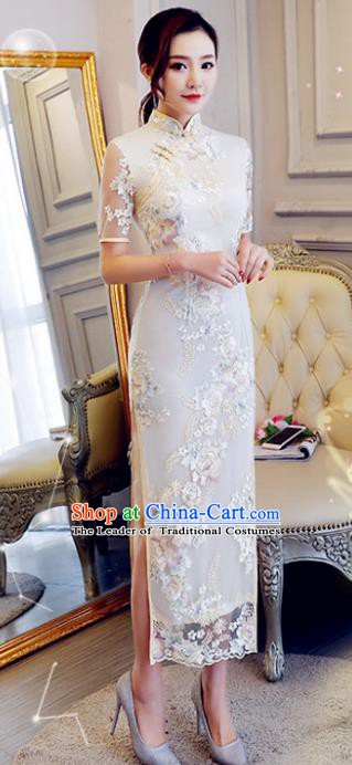 Chinese Traditional Tang Suit Embroidered Qipao Dress National Costume White Mandarin Cheongsam for Women