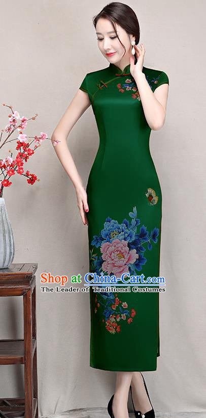Chinese Traditional Tang Suit Printing Peony Silk Qipao Dress National Costume Retro Green Mandarin Cheongsam for Women