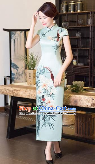 Chinese Traditional Tang Suit Printing Flowers Qipao Dress National Costume Green Silk Mandarin Cheongsam for Women