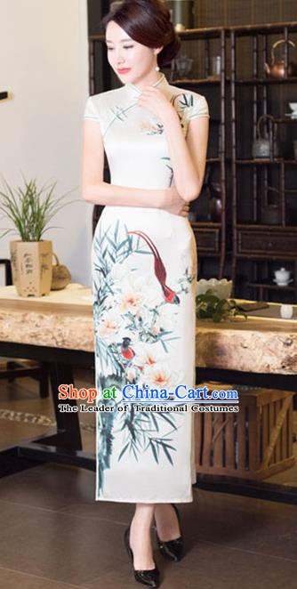 Chinese Traditional Tang Suit Printing Flowers Qipao Dress National Costume White Silk Mandarin Cheongsam for Women
