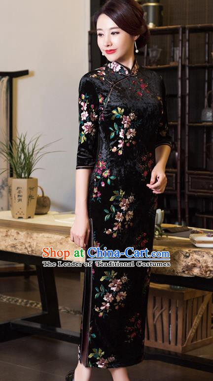 Chinese Traditional Tang Suit Black Velvet Qipao Dress National Costume Mandarin Cheongsam for Women