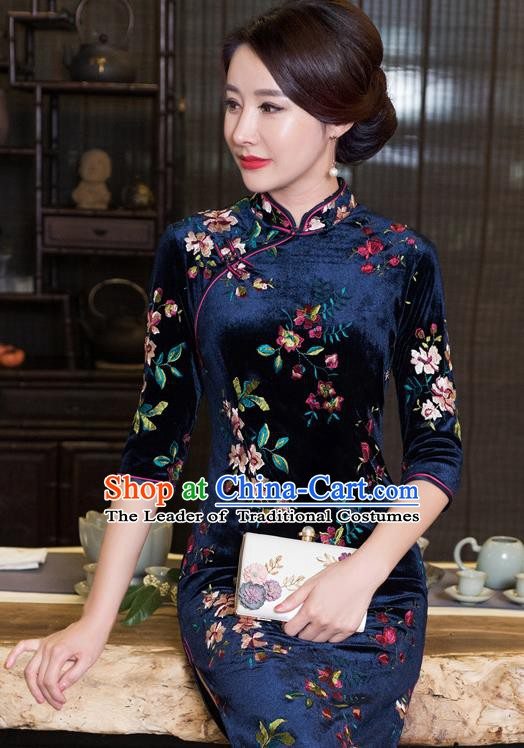 Chinese Traditional Tang Suit Navy Velvet Qipao Dress National Costume Mandarin Cheongsam for Women