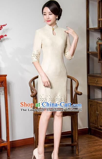 Chinese Traditional Tang Suit Apricot Suede Fabric Qipao Dress National Costume Top Grade Mandarin Cheongsam for Women