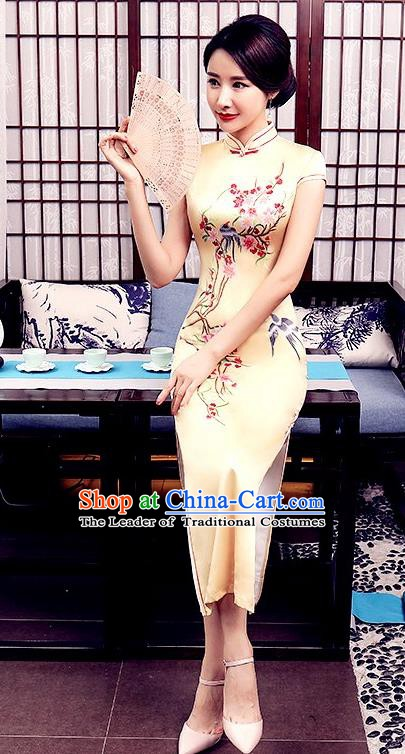 Chinese Traditional Tang Suit Qipao Dress National Costume Printing Birds Yellow Mandarin Cheongsam for Women