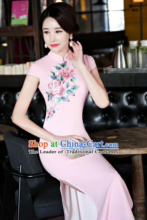 Chinese Traditional Tang Suit Embroidered Pink Qipao Dress National Costume Mandarin Cheongsam for Women
